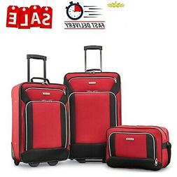 3 Piece Luggage Set Red Black Soft Rolling Suitcase Wheels T