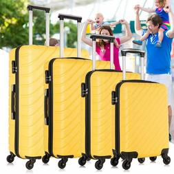 4 pcs ABS Carry On Luggage Set Nested Spinner Trolley Travel