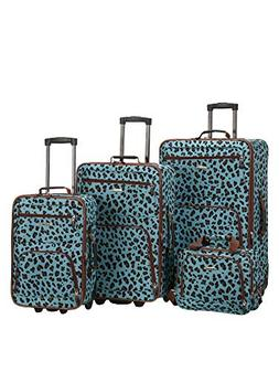 Rockland 4 Piece Luggage Set, Blue Leopard, One Size