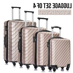 4 x Lightweight Hard Shell Luggage Set ABS Spinner Suitcases