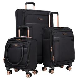"""BLACK 3PC Exp Soft Spinner Luggage Set with 28"""", 20"""" & 16"""" U"""