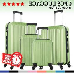 4 Piece ABS Luggage Set Lightweight Travel Case Hardshell Su