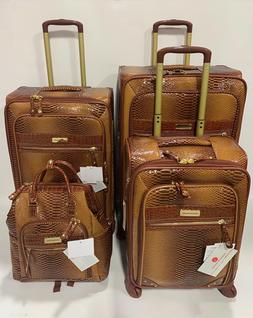 SAMANTHA BROWN CARAMEL CAMEL OMBRE 4PC SPINNER LUGGAGE SET E