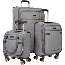 """Charcoal Tweed 3PC Exp Soft Spinner Luggage Set with 28"""", 20"""