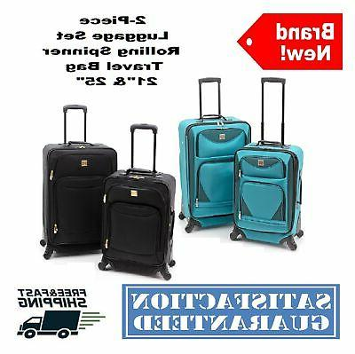 2 pc expandable spinner luggage set rolling