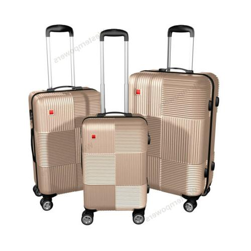 3 28'' Set Spinner Trolley Travel Suitcase Coded