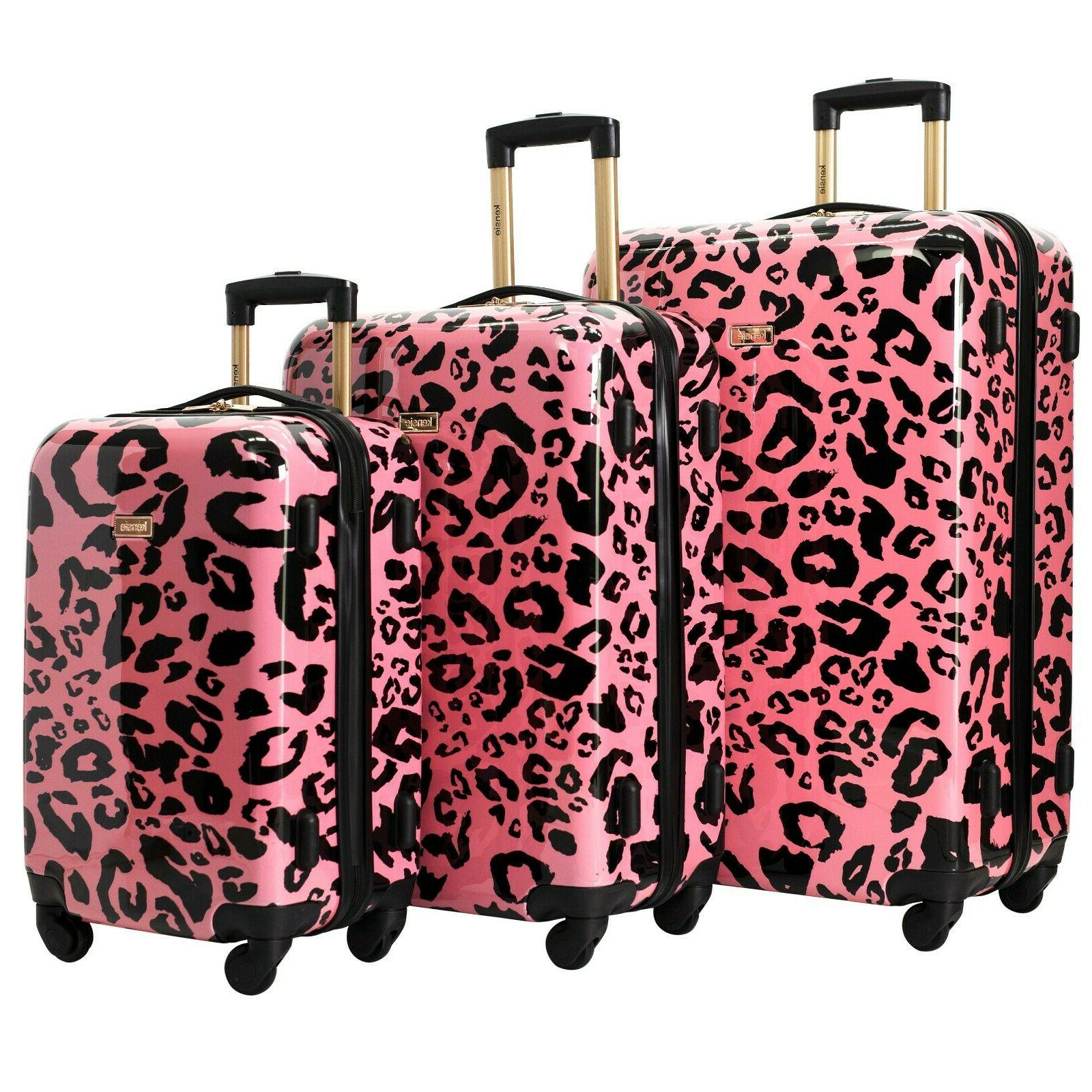 new coral leopard luggage 3 pc set