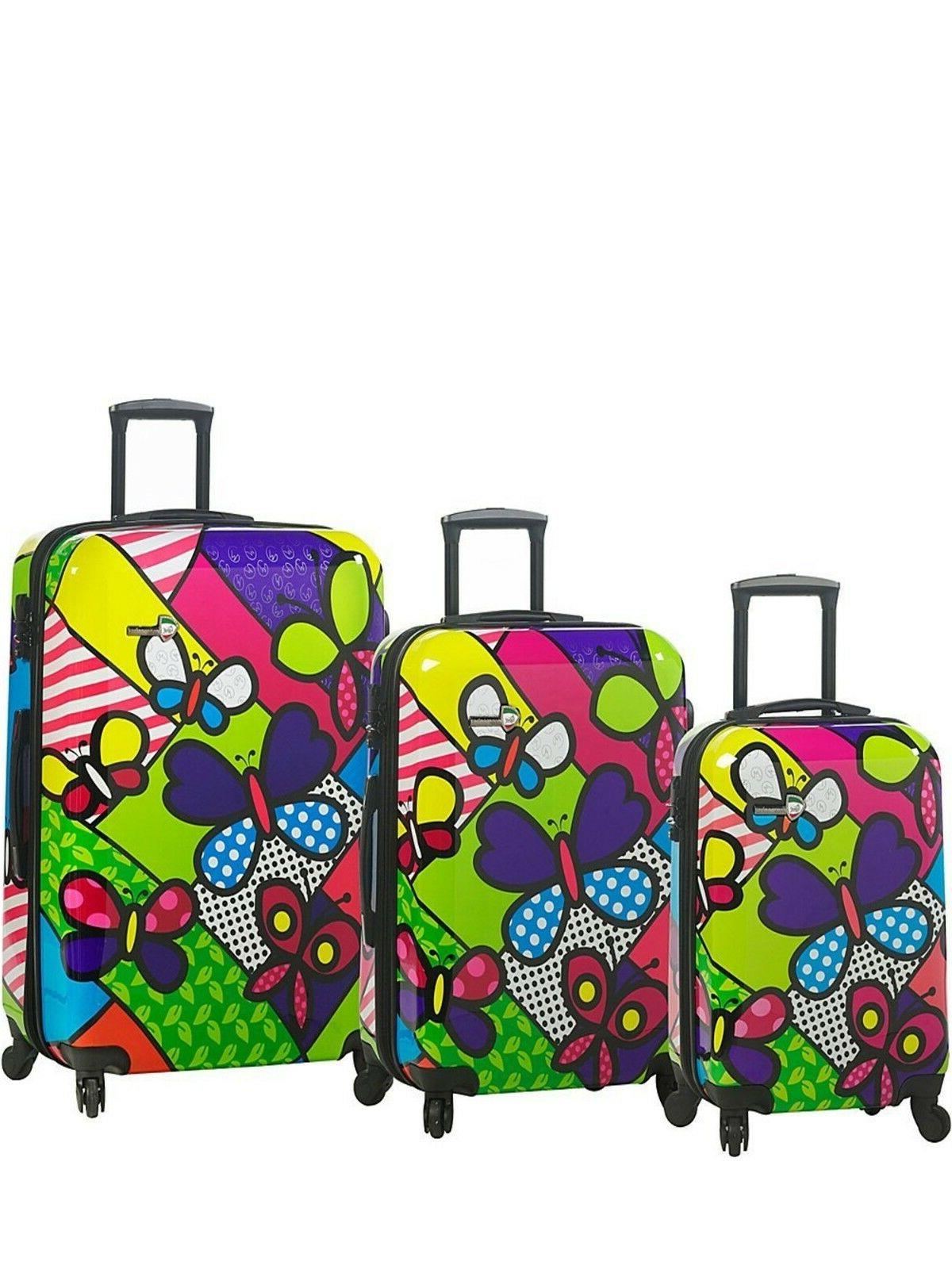 new italy butterflies hardside spinner luggage set