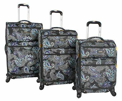 printed softside 3 piece lightweight expandable luggage