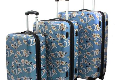 tropical flower 3 piece expandable spinner luggage