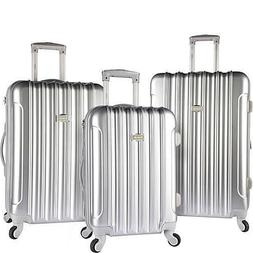 Kensie Luggage 3 PC Expandable Hard Side Luggage Set Silver