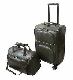 Amerileather Moss Green Leather Croco-Print 2-piece Carry On