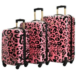 Kensie New CORAL LEOPARD Luggage 3 PC  SET NOT Expandable Ha