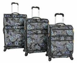 Lucas Printed Softside 3 Piece Lightweight Expandable Luggag