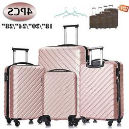 Travel 4 Piece ABS Luggage Sets Hardside Spinner Suitcase 18