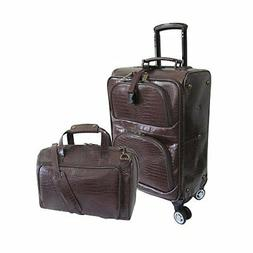 Amerileather Traveler Croco Print Leather 2pc Spinner Luggag