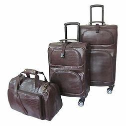Traveler Croco Print Leather 3pc Spinner Luggage